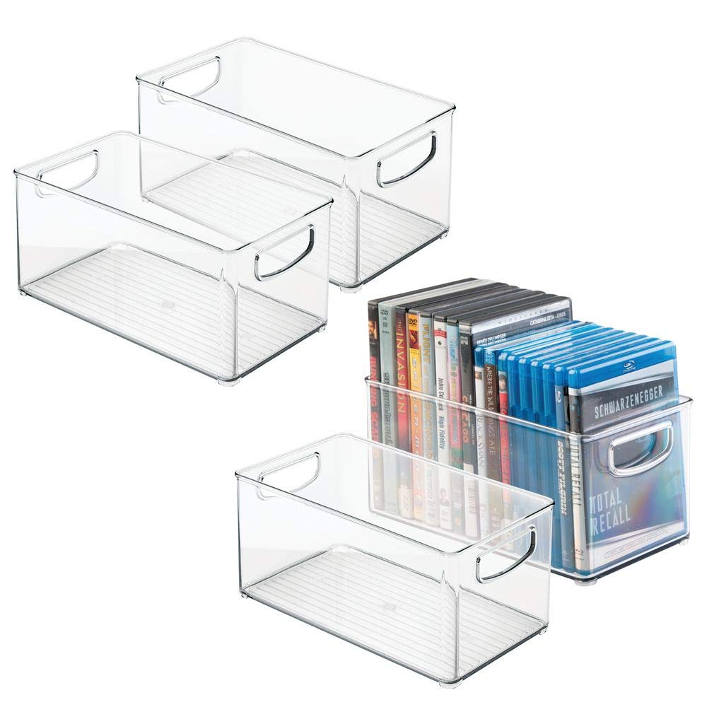 mDesign Plastic Stackable Household Storage Organizer Container Bin Box with Handles - for Media Consoles, Closets, Cabinets - Holds DVD's, Video Games, Gaming Accessories, Head Sets - 4 Pack - Clear