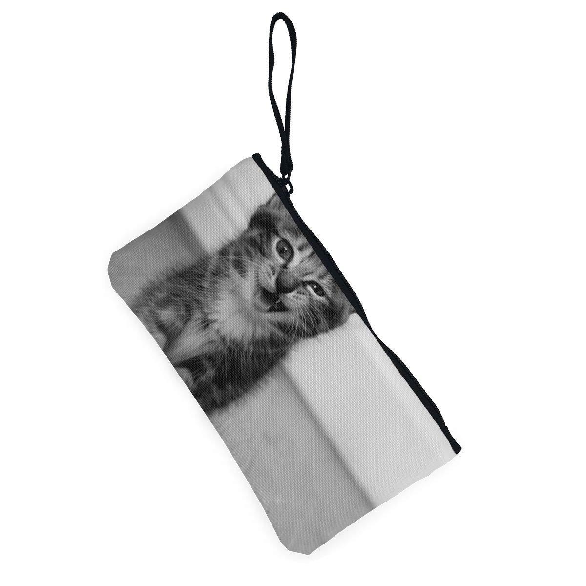 Canvas Cash Coin Purse,Cute Kitten Print Make Up Bag Zipper Small Purse Wallets