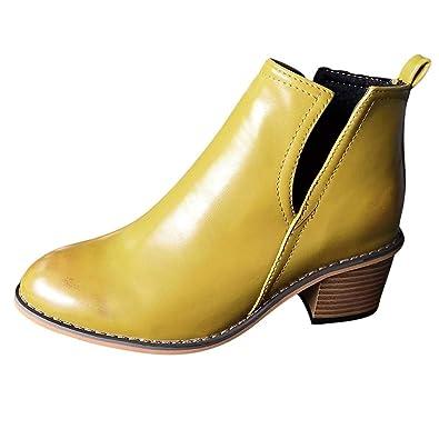 Pwtchenty Zapato De Mujer Botas Color Botines Gruesas con Pie ...