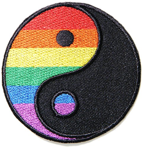 Ying Yang Rainbow Patch Sew Iron on Embroidered Sign Badge Clothes DIY (Pop Art Halloween Costume Couple)