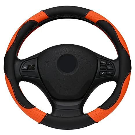 Black And Orange High Quality Leather Car Steering Wheel Cover For BMW Audi  Ford Kia Mazda