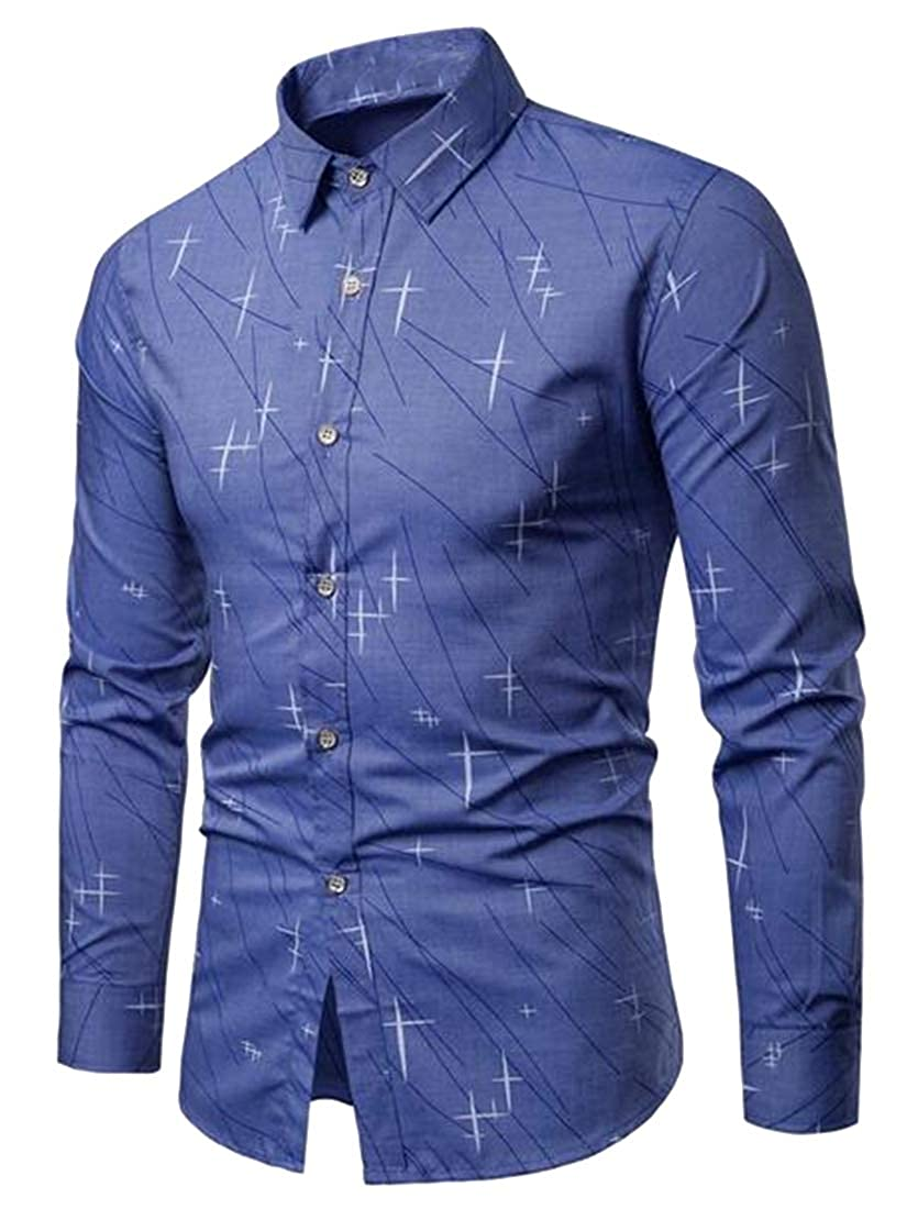 Fubotevic Mens Formal Button Down Slim Long Sleeve Dress Shirts