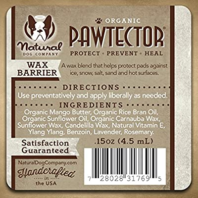 Natural Dog Company PAWTECTOR | Protects Paw Pads Against Drying and Cracking | ORGANIC, VEGAN | Satisfaction Guaranteed | 0.15 oz Stick
