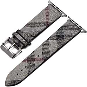 Compatible with Apple Watch Bands 38mm 42mm 40mm 44mm Genuine Calfskin Leather Replacement Plaid Strap for iWatch Series 6/SE/5/4/3/2/1 Bicolor for Men and Women (Gray, 42mm/44mm)