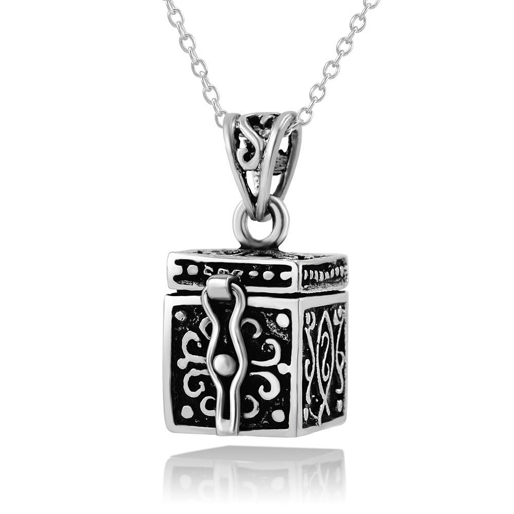 Details zu 925 Sterling Silver Oxidized Antique Poison Prayer Box Pendant Necklace, 18
