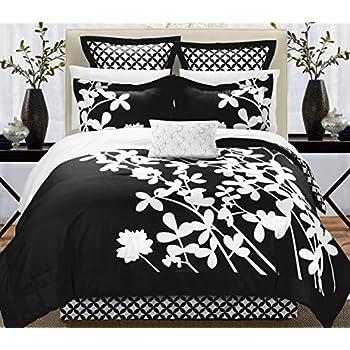 Amazon Com Iris 11 Piece Comforter Set Queen Size Black