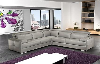 Ju0026M Furniture Gary Ash Grey Full Top Grain Italian Leather Sectional Sofa