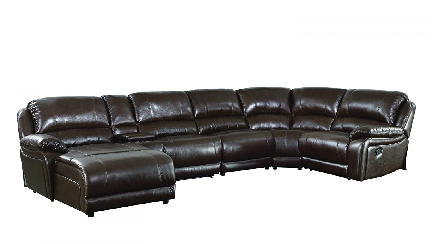 Amazon.com: Coaster 6 Piece Leather Sectional in Chestnut: Kitchen ...