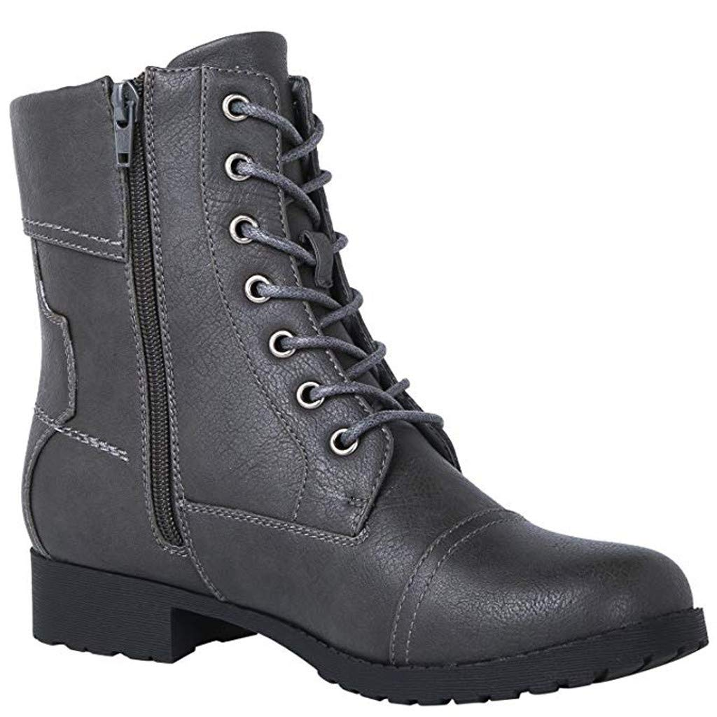 Dainzuy Womens Combat Boots Military Lace up Buckle Combat Boots Ankle High Exclusive Credit Card Pocket Booties