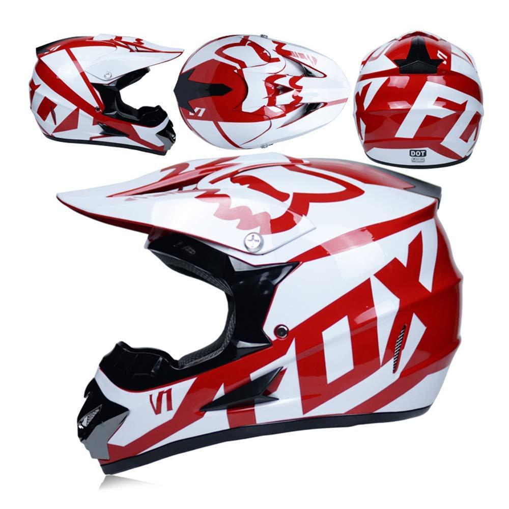 52~53cm AZCX Casco da Downhill Maschera Regalo Maschere Guanti Fox Ciclismo Mountain Bike Casco per Uomini e Donne,A,S