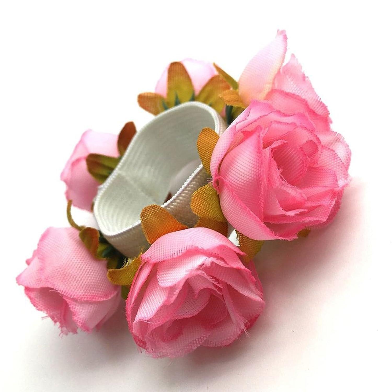 73ff8da55fdfe Mosichi Women Girls Rose Hair Rope Scrunchie Flower Bun Wrap Ring Garland