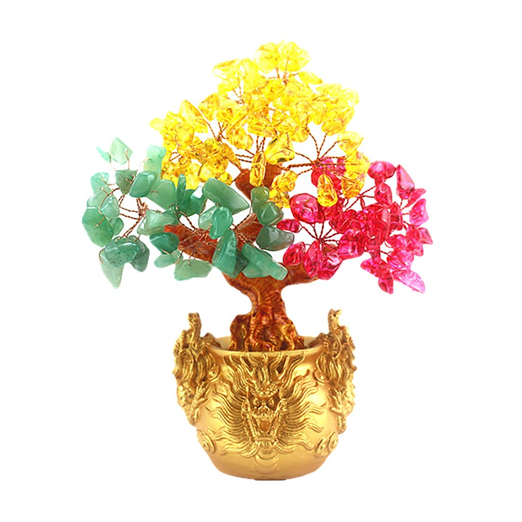 Prettyia Feng Shui Lucky Tree with Dragon Statue Base Natural Mixed Color Quartz Citrine Crystal Money Tree Bonsai Style Home Office Decor for Wealth and Luck