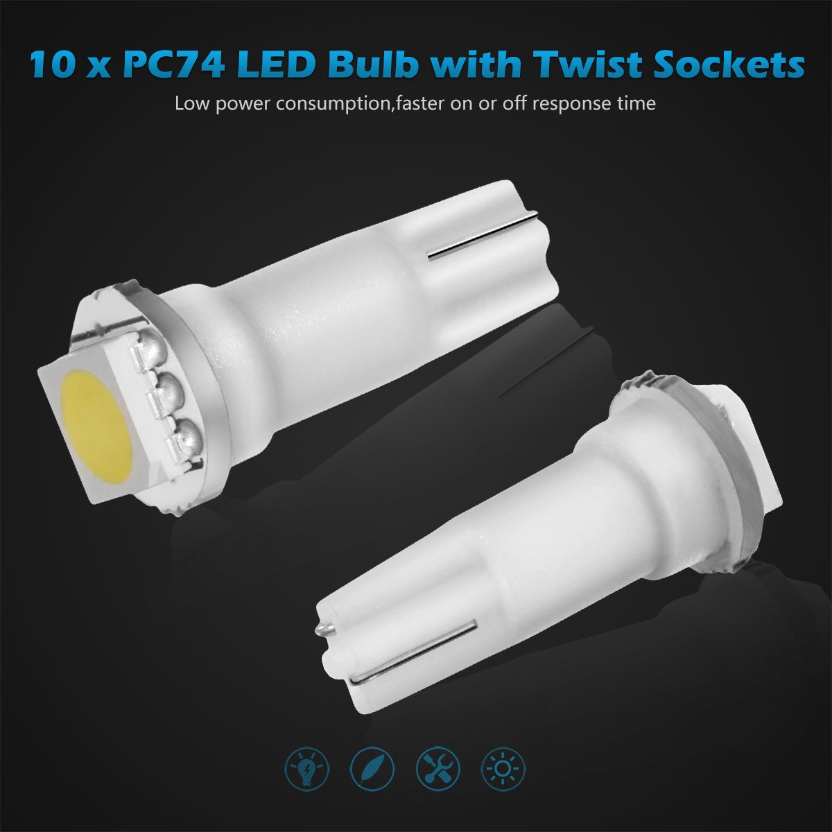 Partsam 10x White Pc74 Twist Socket T5 Wedge 37 70 1 Smd Parts Lamp Sockets Holders With Diode Circuit Board 5050 Led Dashboard Instrument Cluster Light Automotive