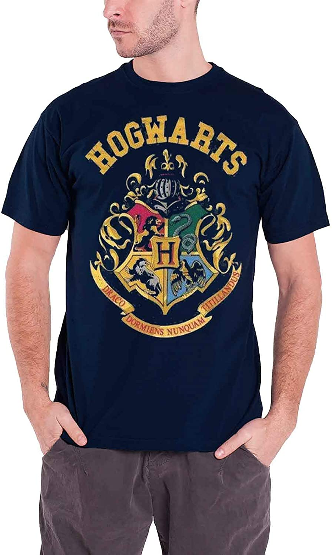 Harry Potter T Shirt Hogwarts Crest Logo Ufficiale nuovo Blu Uomo
