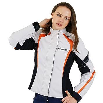 Nerve Artemis Chaqueta de Moto para Mujer, Blanco/Negro, 44