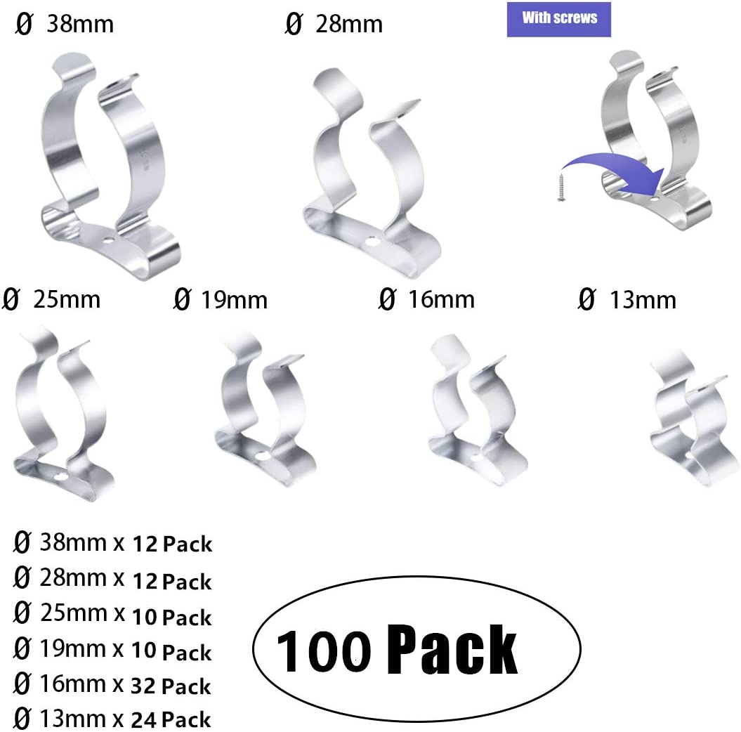 38MM BOX 100 TOOL STORAGE SPRING TERRY CLIP ASSORTED 9MM
