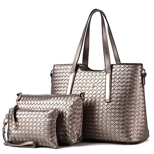 Vincico174;Women 3 Piece Tote Bag Pu Leather Weave Handbag Shoulder Purse Bags (Bronze)