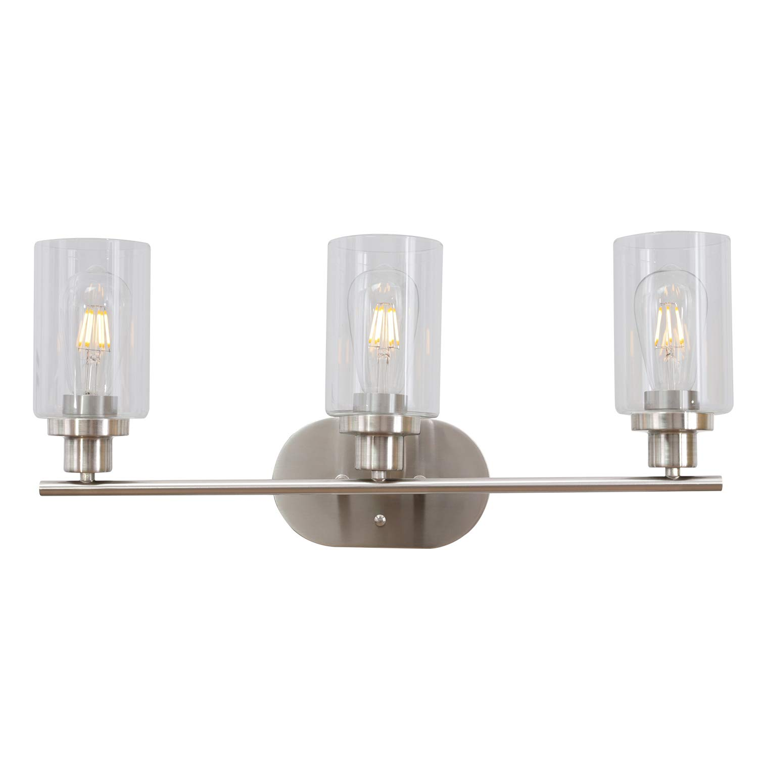 VINLUZ 3 Light Brushed Brass Wall Light Contemporary Wall Sconce Bathroom Lighting Fixture with Clear Glass Shade UL Listed
