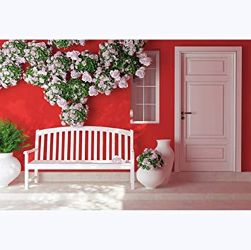 Leyiyi 12x8ft Indoor Room Backdrop Red Wall White Door Wooden Bench Flower Wall Vase Backdrops for Photography Kids Birthday Decoration Vinyl Personal Portraits Studio Props