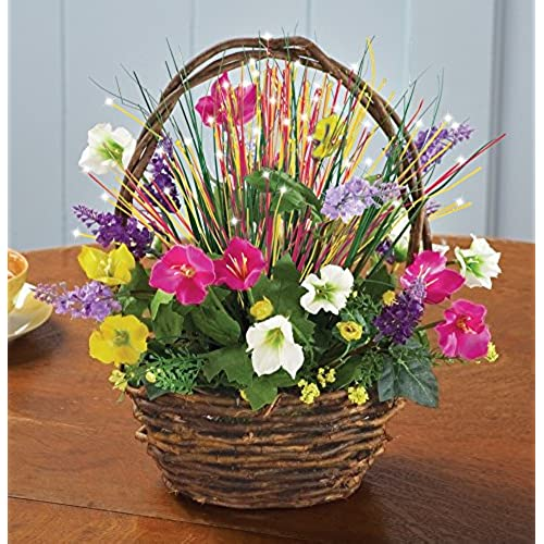 Artificial flowers for grave amazon fiber optic spring floral basket mightylinksfo