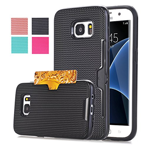 Price comparison product image Galaxy S7 Edge Case, Asstar S7 Edge Case [Card Slot] Slim Case Cover Tough Protective [Corner Protection] Scratch-Resistant Shockproof TPU Bumper For Samsung Galaxy S7 Edge (Black)