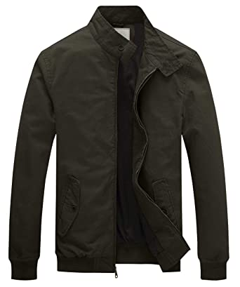 WenVen Men s Causal Cotton Bomber Jacket Classic Outerwear Coat(Army  Green 974f11379