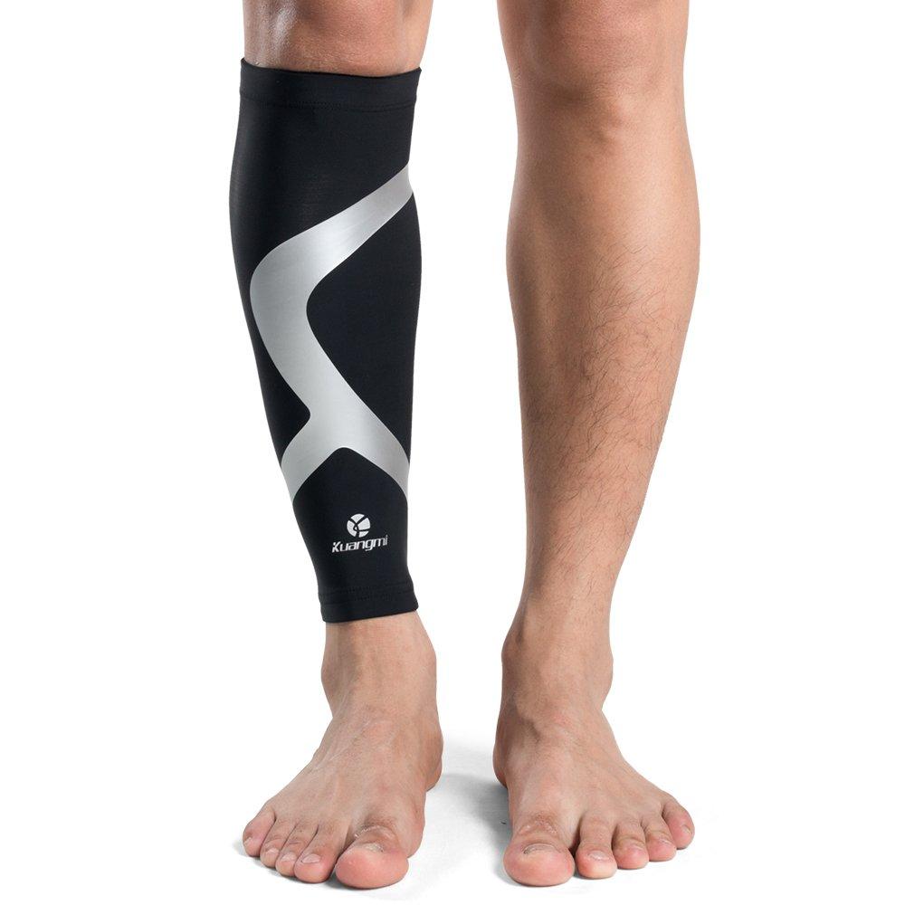 Kuangmi Leg Calf Compression Sleeve Shin Splint Sock for Men Women Youth Running Cycling Biking Basketball Football (Black, XXX-Large(Single))
