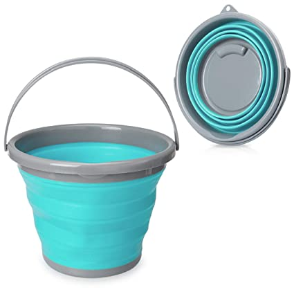 Navaris Cubo Plegable 10 litros - Balde Plegable con asa 35CM de diámetro y Altura - Barreño Flexible y Compacto para Camping de Color Azul y Gris