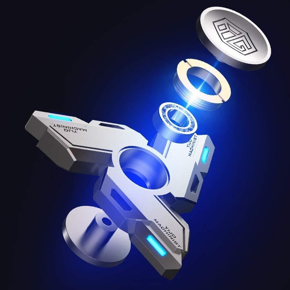 GRTVF Gyro yema del dedo luminoso de aleaci/ón de metal extra larga Tiempo Iluminar Fidget juguete mano Spinner solo dedo cojinete giratorio de alta velocidad de acero inoxidable y la ansiedad de aleac