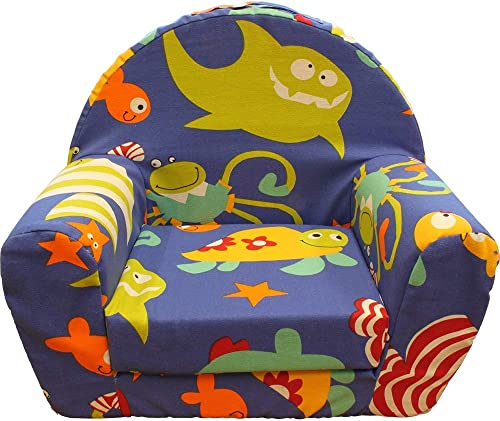 CUB CHAIRS Kid s Foam Chair with Funny Fish and Shark Cover