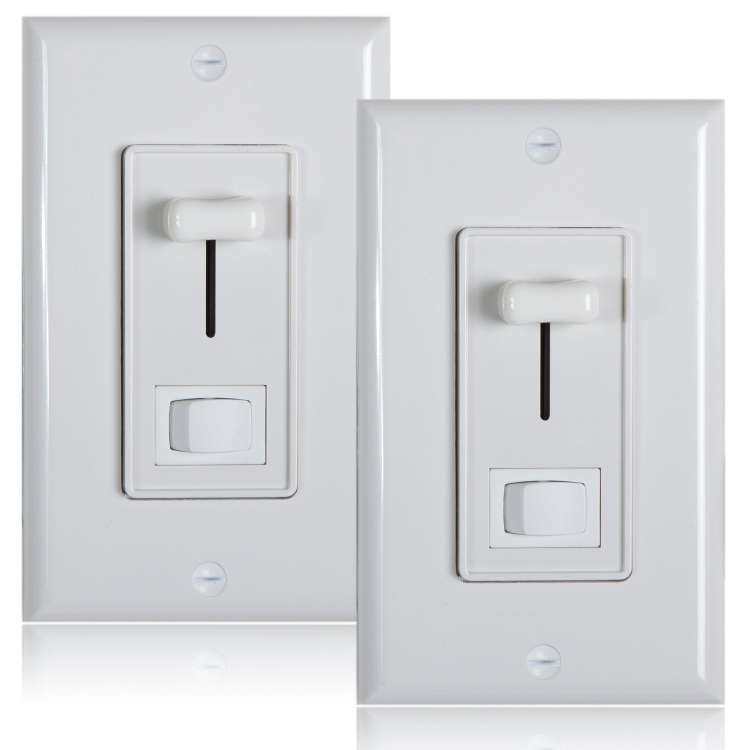Maxxima 3-Way / Single Pole Dimmer Electrical light Switch 600 Watt max, LED Compatible, Wall Plate Included (2 Pack)