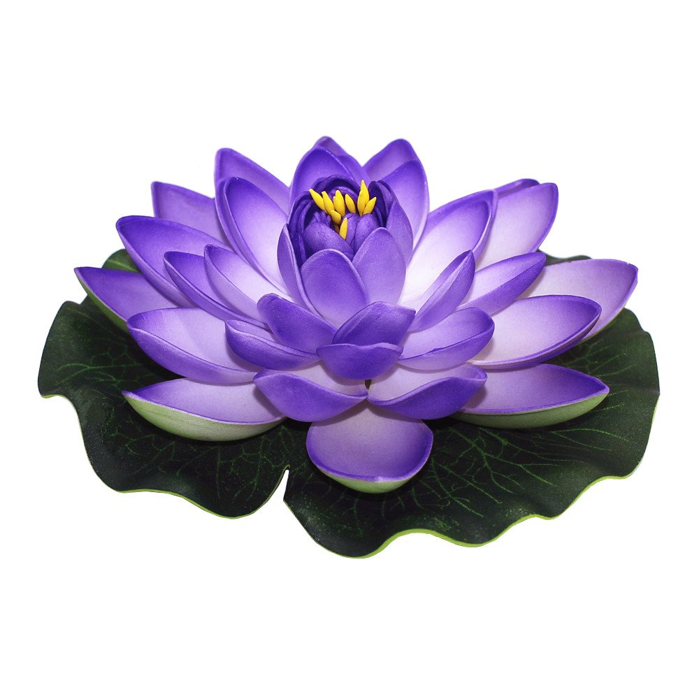 ZHU-YU-CHUN-Large-Artificial-Floating-Lotus-Flowers-Home-Garden-Pond-Aquarium-Wedding-Decor-Purple-Pack-of-4