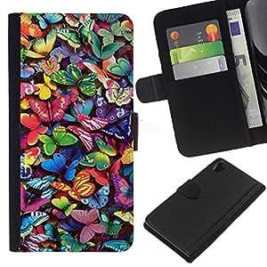 WINCASE (No Para Z2 Compact) Cuadro Funda Voltear Cuero Ranura Tarjetas TPU Carcasas Protectora Cover Case Para Sony Xperia Z2 D6502 - vibrante colorido verano mosca naturaleza