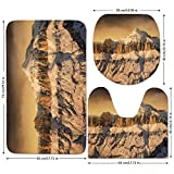 3 Piece Bathroom Mat Set,Farmhouse-Decor,Surreal-Saturated-Photo-of-Italian-Twin-Mountain-Peaks-with-Silent-Overcast-Sky,Sepia.jpg,Bath Mat,Bathroom Carpet Rug,Non-Slip