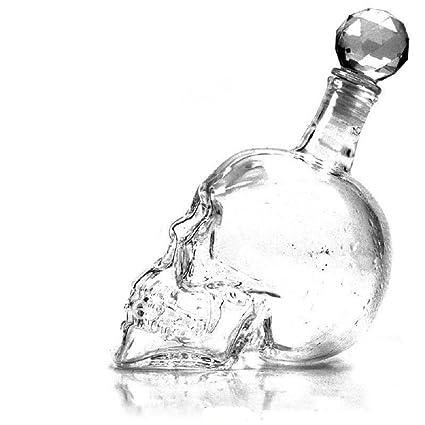 Botella de cristal con diseño de calavera de cristal para vino, vodka
