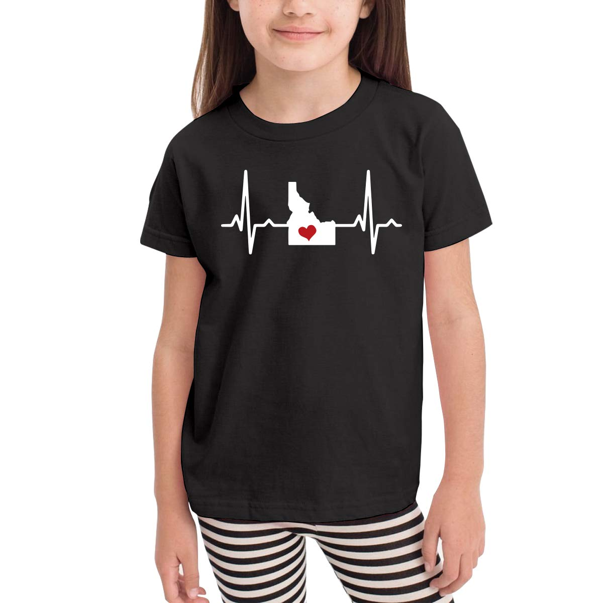 Childrens Idaho Home Love Heartbeat Cute Short Sleeve Tee Tops Size 2-6