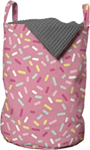 Ambesonne Pink and White Laundry Bag, Abstract Pattern of Colorful Donut Sprinkles Tasty Food Bakery Theme, Hamper Basket with Handles Drawstring Closure for Laundromats, 13