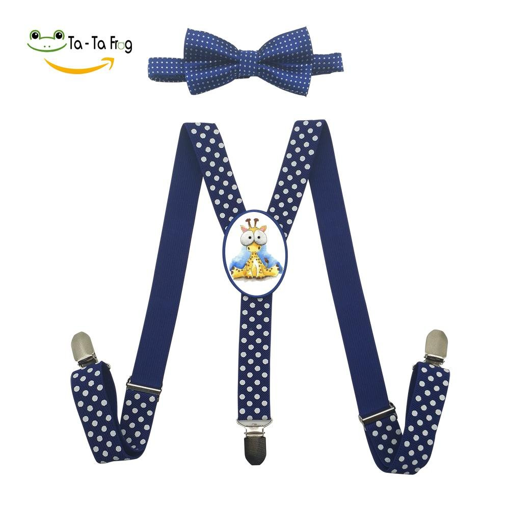 Xiacai Cartoon Deer Suspender/&Bow Tie Set Adjustable Clip-On Y-Suspender Kids