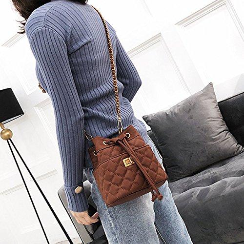 Shoulder Bucket Drawstring Crossbody Bags Brown LABANCA Plaid Chain with Bag Small Matel Rhombus Purse Womens YwgaqAF