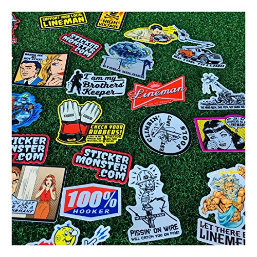 Lineman (64) Hard Hat Stickers Hardhat Sticker, Linemen, Electrician, Reddy IBEW by Unknown (Image #6)