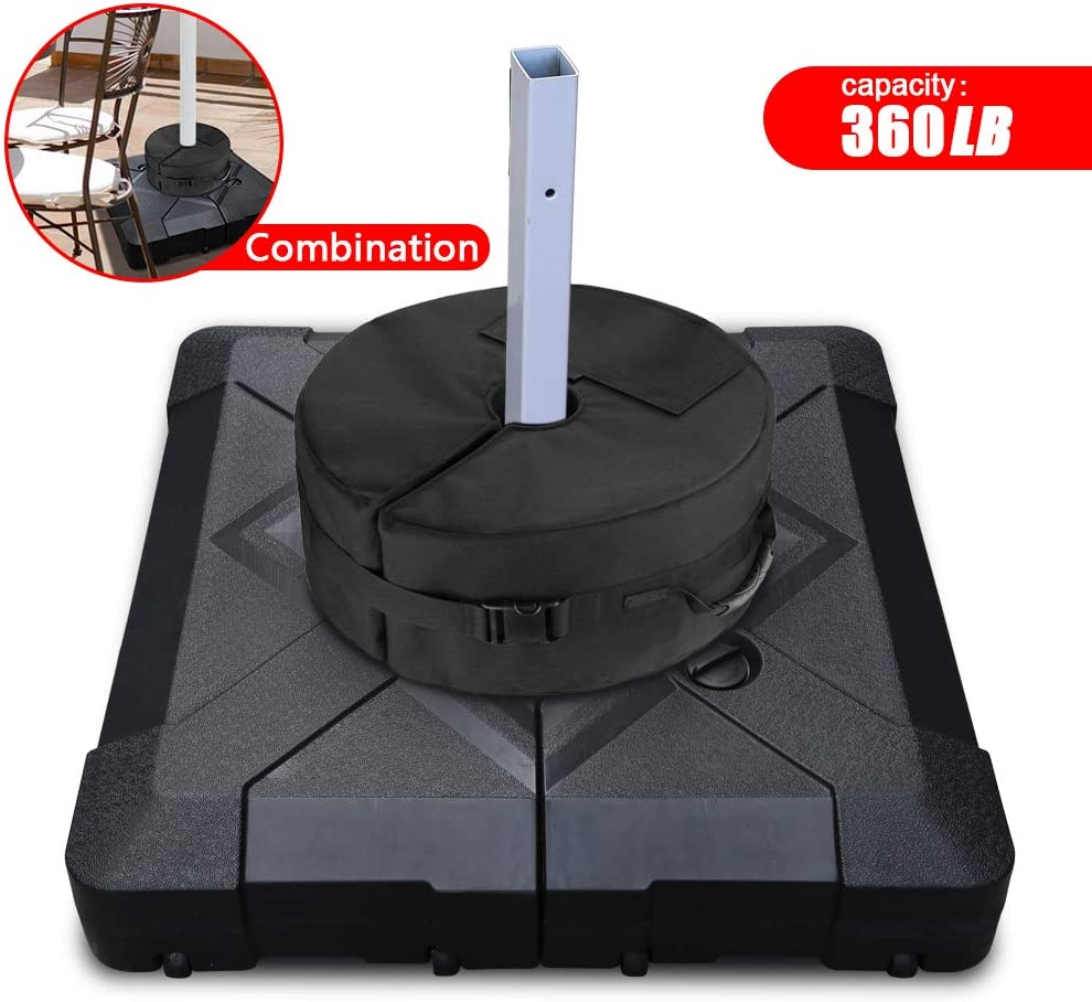 Patiassy Offset Patio Umbrella Base Sand Water Filled Square Round Umbrella Base Weight Bag 18.5 Dia, Totall up to 360lbs
