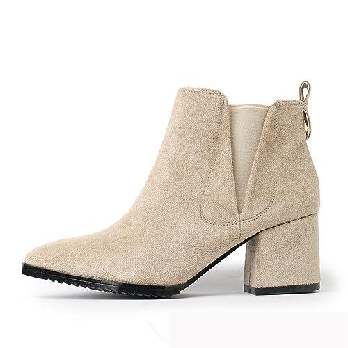 Mujer Invierno Zapatos - Moda Talón Bloquear Botines Fleece Forrado Calentar Botas Slip on Antideslizante Punta Puntiaguda Casual Zapatos: Amazon.es: ...