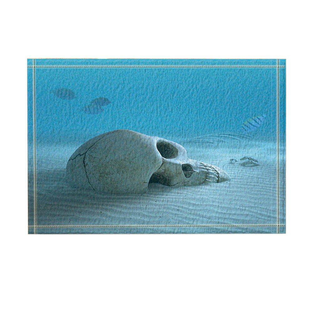 KOTOM Ocean Decor, Skull on Sandy Ocean Bottom with Small Fish Cleaning Some BonesBath Rugs, Non-Slip Doormat Floor Entryways Indoor Front Door Mat, Kids Bath Mat, 15.7x23.6in, Bathroom Accessories