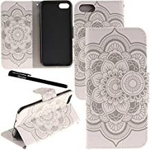 """iPhone 7 Case, Urvoix Card Holder Stand Leather Wallet Case - White Flower Flip Cover for 4.7"""" iPhone 7 (NOT for 7Plus)"""