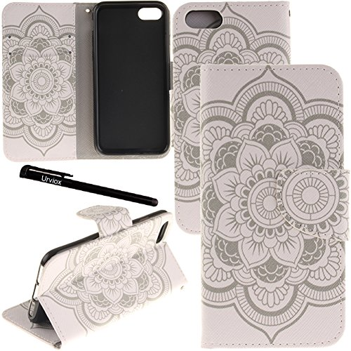 iPhone 7 Plus / 8 Plus Case, Urvoix Card Holder Stand Leather Wallet Case - White Flower Flip Cover for 5.5