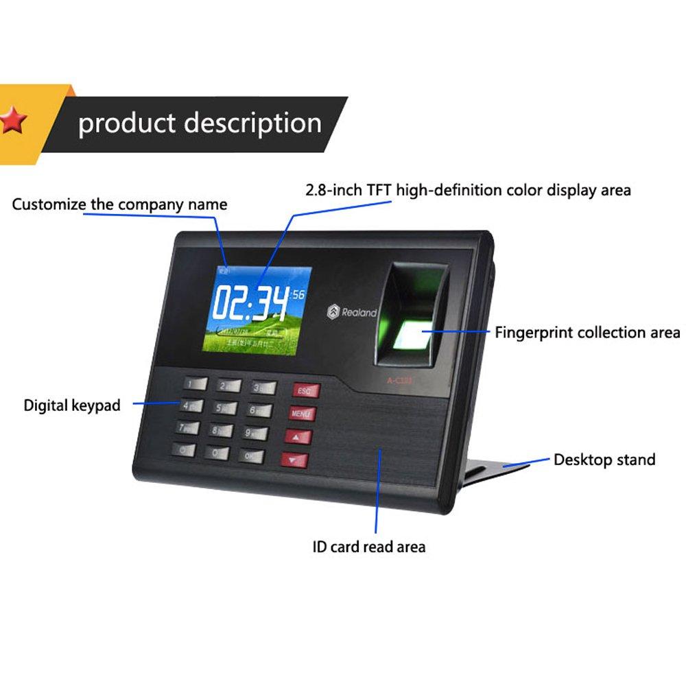 HFeng 2.8 Pulgadas TCP/IP/USB Realand Huella Digital biométrica Tarjeta de Tiempo Locker Asistencia máquina Finger Scanner 2000 Capacidad de Usuario para el ...