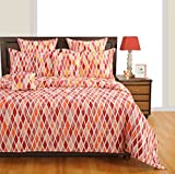 Swayam Eco Sparkle 140 TC Cotton Fitted-Double Bedsheet with 2 Pillow Covers - Orange