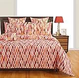 Swayam Eco Sparkle 140 TC Cotton Double Bedsheet with 2 Pillow Covers - Orange