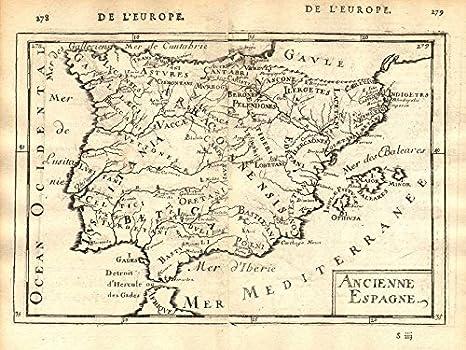Número de casa Iberia: provincias pueblos Hispania Lusitania, 2 láminas de la bandera de España. Mazo, 1683 mapa: Amazon.es: Hogar