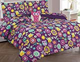 Golden Linens Reversible Printed Owl Microfiber Kids Bed In Bag Bedding Comforter with sheets and pillow cases (Twin)